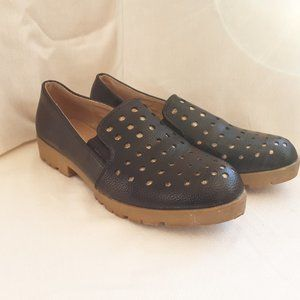 Manar Women's Black with Gold Dots Loafer | 39/8